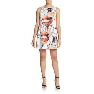 Saks Fifth Avenue 10 Dress Red Watercolor Floral